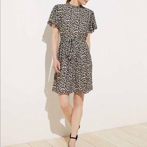 Leopard Print Tie Waist Flutter Dress